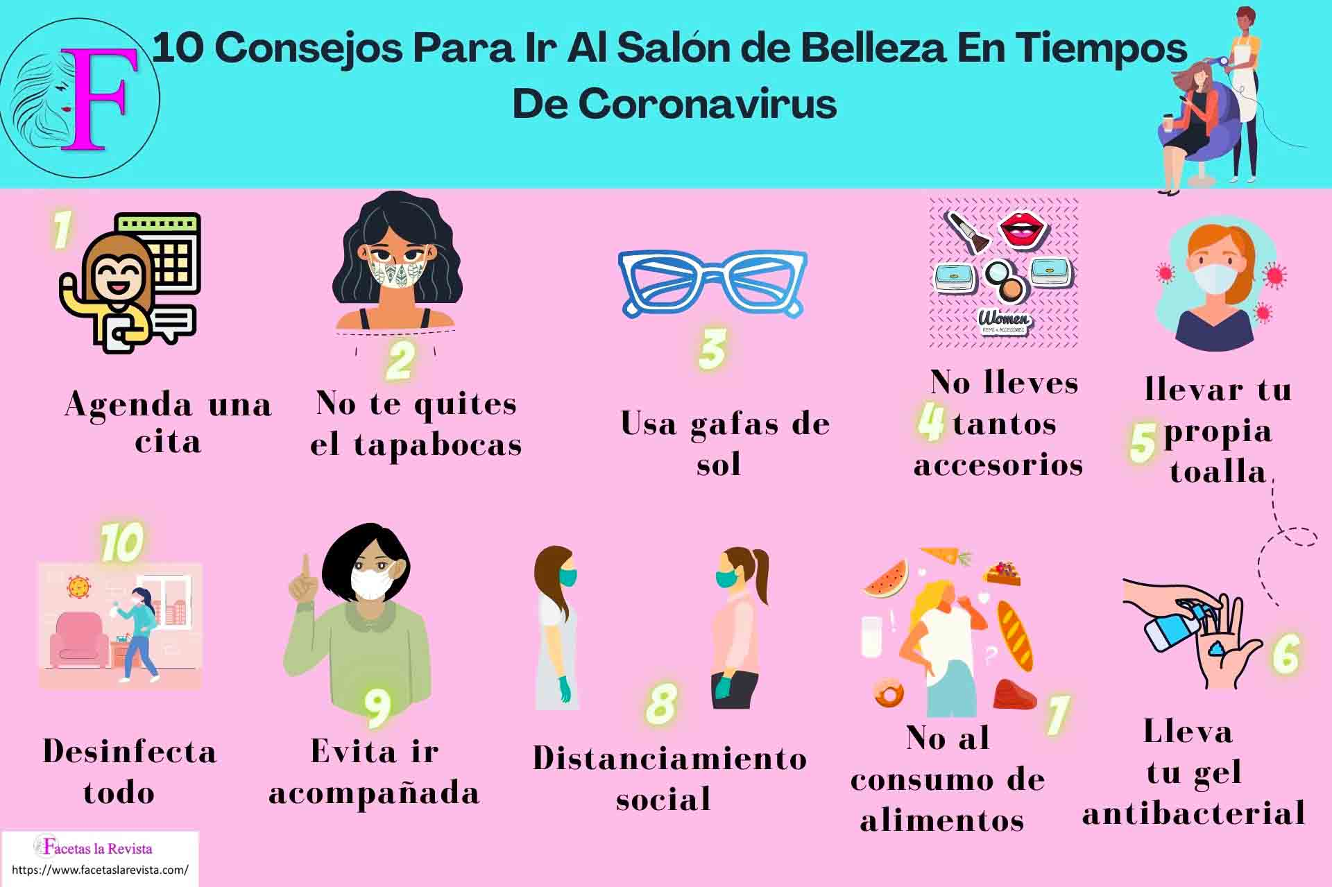 Infografía 10 Consejos Para Ir Al Salón de Belleza En Tiempos De Coronavirus
